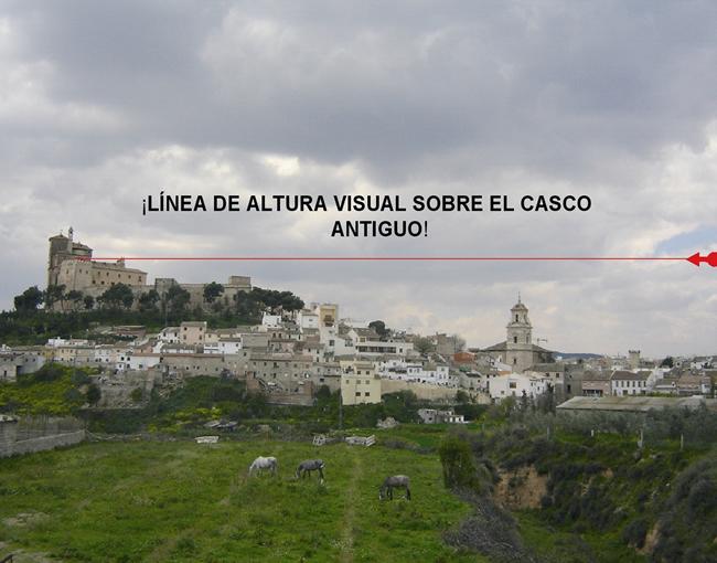 Linea de altura sobre el casco antiguo de Caravaca