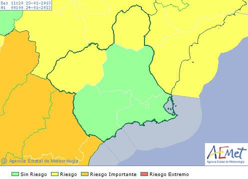 El aviso afecta a las comarcas del Noroeste y el Altiplano