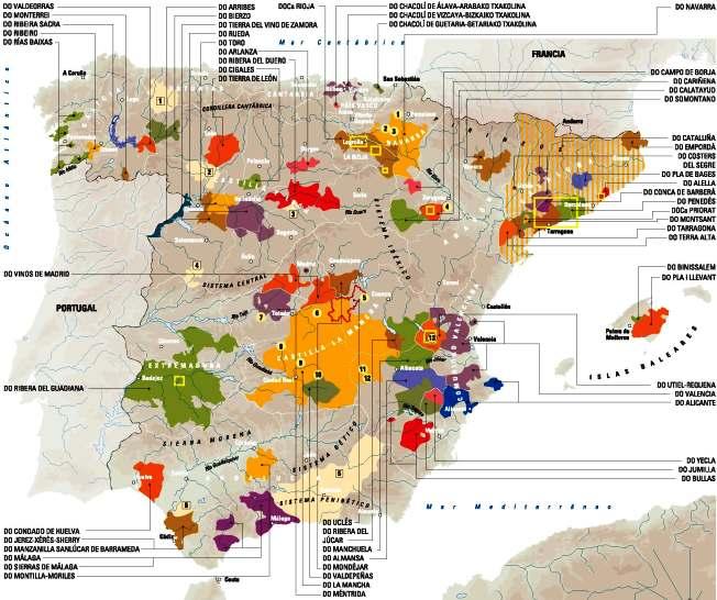 Mapa de denominación de origen de los vinos de España, 2011