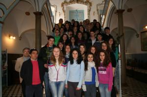 Alumnos alemanes del intercambio cultural en el Ayuntamiento de Cehegín