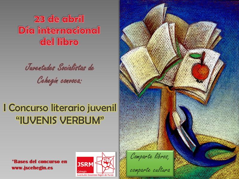 """Cartel concurso literario """"IUVENIS VERBUM"""" en Cehegín"""