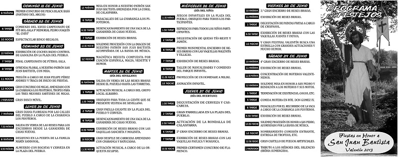 Programa de fiestas Valentín 2013