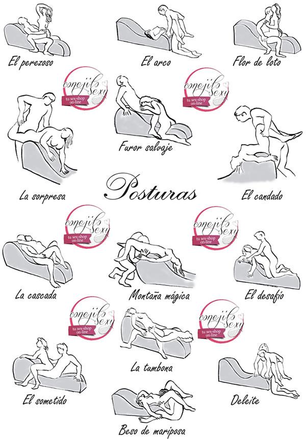 Algunas de las posturas que puedes realizar en el Diván Tantra