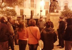 Charla Miguel Sánchez en la Plaza del Arco